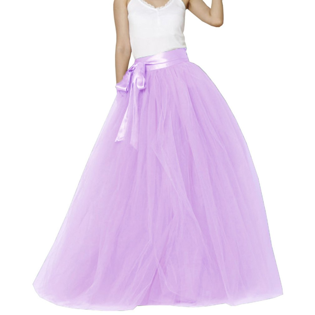 Light purplec Lisong Women Floor Length Bowknot 5Layered Tulle Party Evening Tutu Skirt
