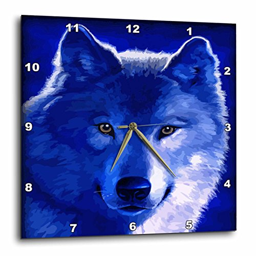 Blue Wolf Inch Wall Clock - wolf wall decorations