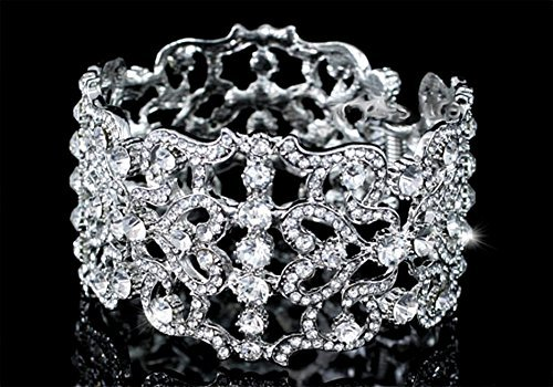 EXQUISITE Bridal Wedding Pageant Party Art Deco Vintage Style Crystal Bangle