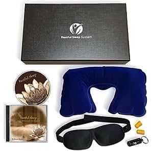Premium Restful Sleep System – Sleep Mask, Guided Meditation CD, Neck Pillow, Earplugs, Gift Box, Satisfaction Guaranteed