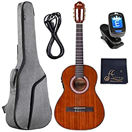 WINZZ 36 Inches 3/4 Size Nylon-string Classical Electric Acoustic Guitar for Beginners Students Kids Build-in Pickup Kit…