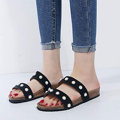 Per 44 antiscivolo Ciabatte Piatte Slippers Punta Donna Aperta A Elegante Sandali I'uso Nero Quotidiano Infradito Pantofole 35 Leggere qI7UpaPRwx