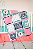 Floral Baby Girl Crib Set - Coral / Mint / Gold / Navy