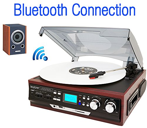 Boytone BT-37M-C Bluetooth 3-Speed Stereo Turntable, Wireless Connect to Devices speaker(Bluetooth out transfer), 2 Built-In Speakers, LCD Display, AM/FM Radio, USB/SD/AUX+ Cassette player/MP3 by Boytone