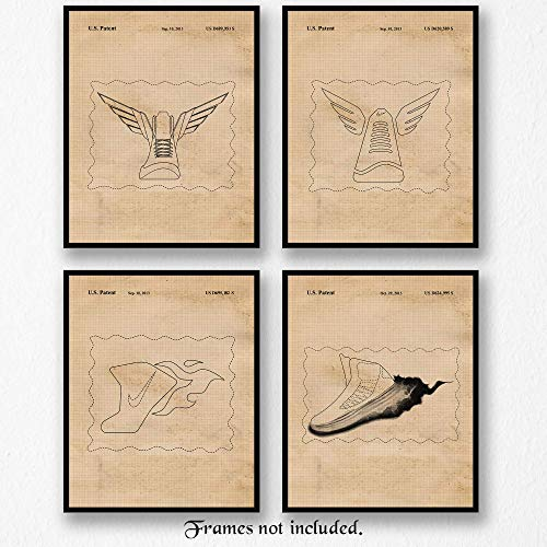 Original Nike Social Media Icon-Logo Patent Art Poster Prints - Set of 4 (Four Photos) 8x10 Unframed - Great Wall Art Decor Gift for Home, Office, Studio, Garage, Man Cave, Gym, Student, Teacher, Fan (Icon Unframed)