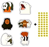 6 Skateboard Vinyl Stickers, You Pick, Laptop Ipad Luggage Helmet Bike Car + 43 Free Smiley Stickers - We Bare Bears