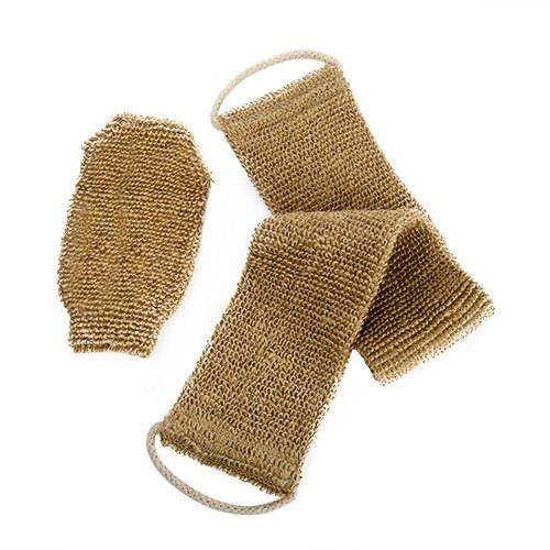 100% Natural Exfoliating Hemp Back Scrubber, Bath & Shower Body Brush Scrubber with Handle, Durable Machine Washable, Free Mitt soamazing