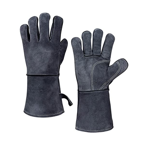 932 F Heat Resistant Grill Gloves Flame Resistant Leather Bbq Glove