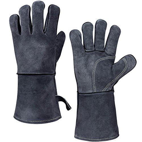 932°F Heat Resistant Grill Gloves, Flame-resistant Leather BBQ Glove with Long Sleeve and Insulated Cotton Lining for Welding/Grilling/Barbecue/Oven/Baking/Fireplace - Gray(14-inch) by OZERO