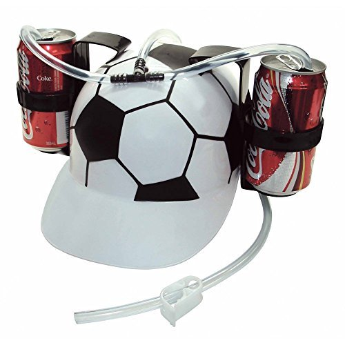 Drinking Hats With Straws - Old Burger Soda Cola Beer Hat Cap Drinking Helmet with Straw for Party Game(Soccer Football)