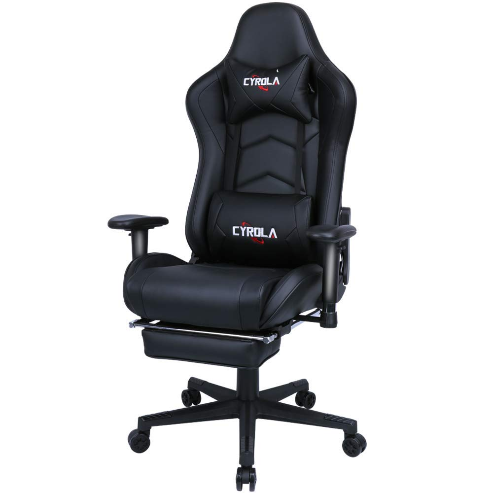 Cyrola Large Gaming Chair with Footrest High Back Adjustable Armrest Heavy Duty Computer Racing Gaming Chair for Adults Gamer Chair Ergonomic Design Video Game Chair Lumbar Support Black by CYROLA
