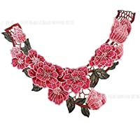 2 X en dentelle de mariée Applique Floral Cordon Mariage Motif Rouge Blanc #41