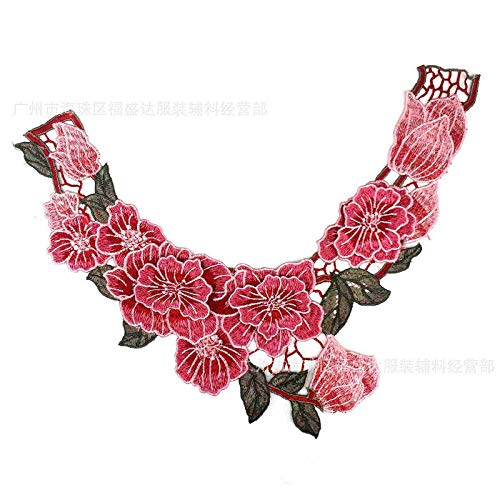 - 1pcs Colorful Collar Venise Floral Embroidered Applique Trim Decorated Lace Neckline Collar Sewing(Colour) (Pink)