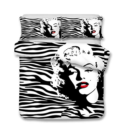 Bedding Sheets Marilyn Monroe Animal Print Bed Sheet Set, Queen Size 4 Piece Pack Quilted Flat 2 Pillow Shams