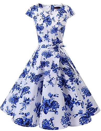 DRESSTELLS Retro 1950s Solid Color Cocktail Dresses Vintage Swing Dress with Cap-Sleeves White Blue Flower 2XL