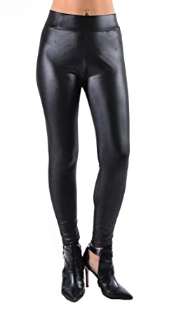 Juniors Faux Leather Liquid Wet Look Leggings at Amazon Women's ...