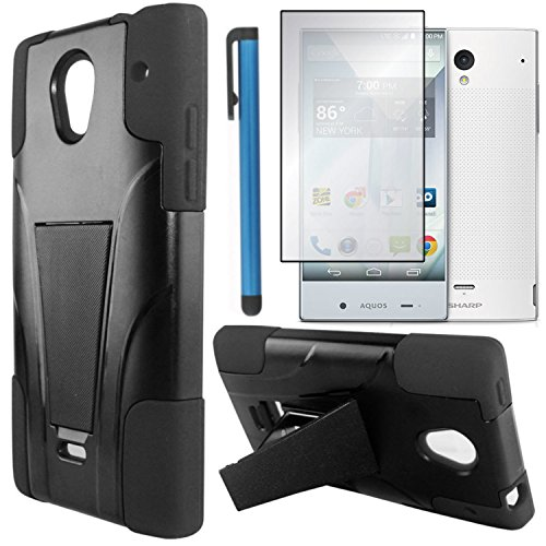 Sharp Aquos Crystal Case Combo(3-items)-VGUARD Dual- Layer Hard/Gel Hybrid Kickstand Armor Case (Black/Black)+ICE-CLEAR(TM) Screen Protector Shield(Ultra Clear)+Touch Screen Stylus (Sharp Aquo Crystal Cases compare prices)