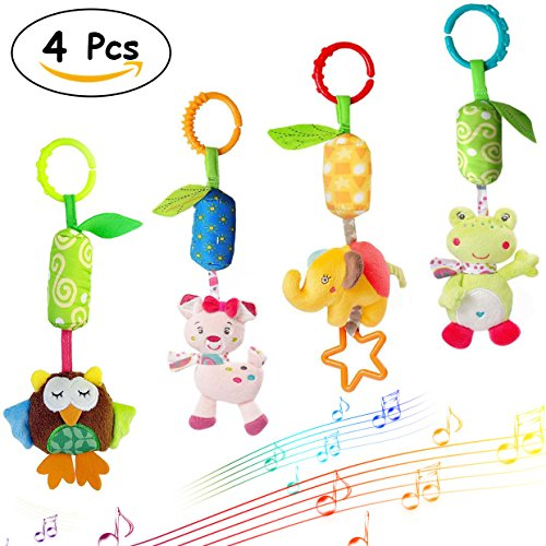 Merveilleux Baby Rattle Toys Infant Soft Hanging Toy 4pcs Newborn Stroller Car Seat Crib Plush Animal dolls (Newborn Doll Stroller)
