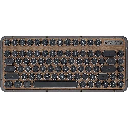 chollos oferta descuentos barato AZIO Retro Teclado compacto R C K ELWOOD teclado mecánico Bluetooth móvil con reposamanos a juego apariencia vintage diseño español