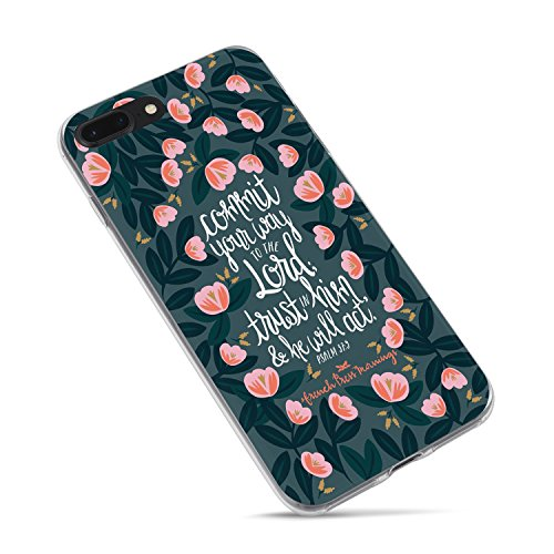 iPhone 7 Plus Girls Case,iPhone 8 Plus Case,Cute Flowers Christian Quotes Bible Verses Inspirational Life Floral Psalm 37:5 Commit Your Way to The Lord Soft Case for iPhone 8 Plus/iPhone 7 Plus (Funny Quote Iphone 4 Case)