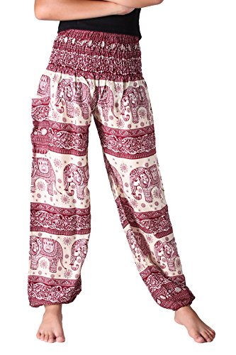 Bangkokpants Womens Hippie Pants Bohemian Gorgeous Elephant Design Red Us Size 0-14