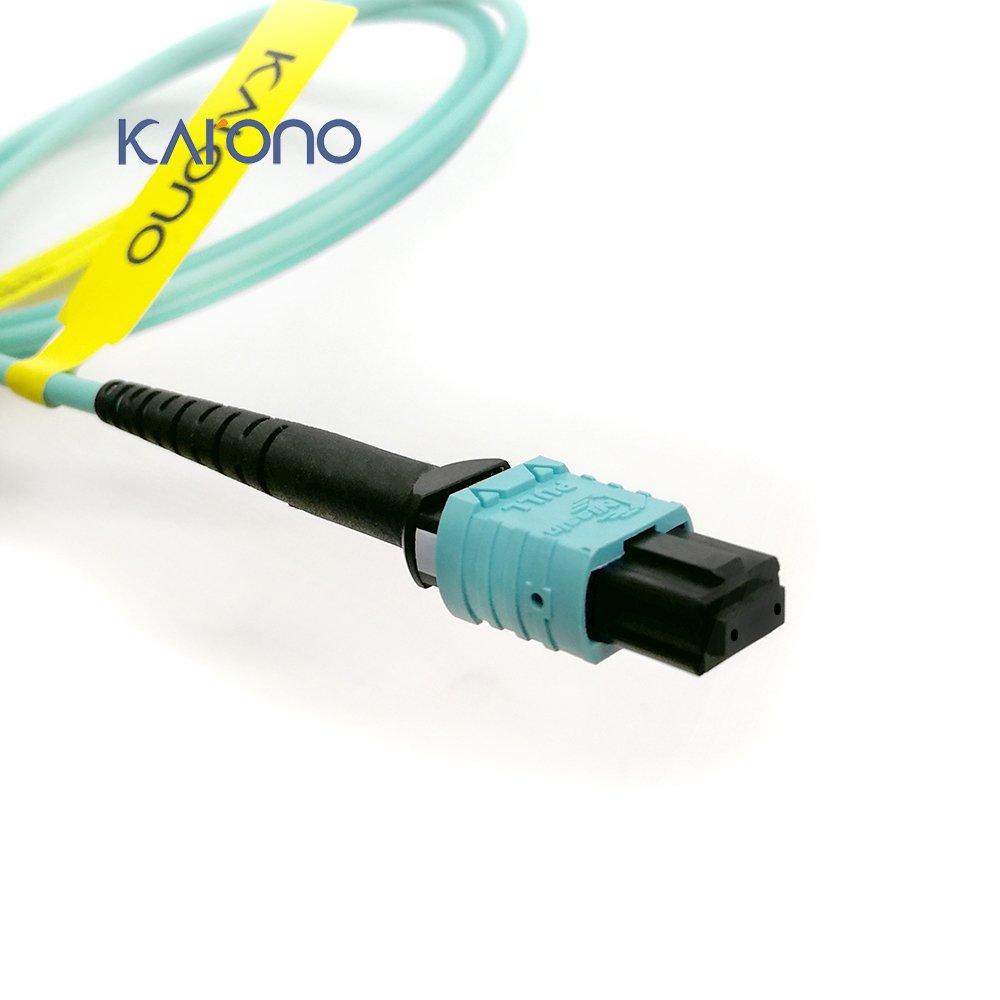 Karono MPO-MPO Patch Cord, TYPE B, 16.5 ft (5M), OM3 Multi-mode Fiber, 12-core Fibers for QSFP+Transceivers MTP Compatible Application, Aqua