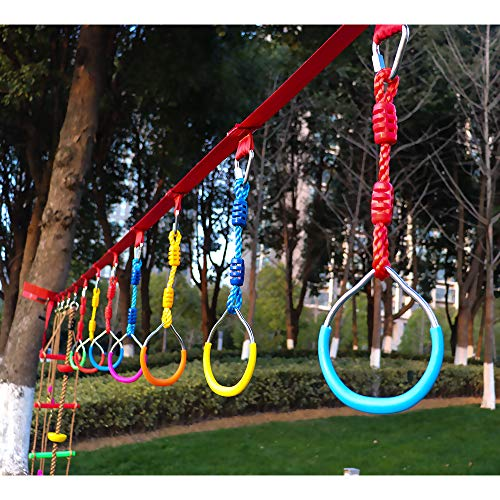Rainbow Craft Swing Bar Rings-Colorful Outdoor Backyard Gymnastic Rings & Locking Carabiners - 7 pcs Pack by Rainbow Craft (Image #5)