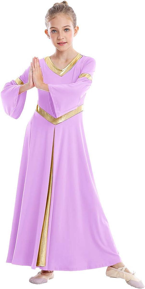 IMEKIS Girls Metallic V Neck Liturgical Praise Dance Dress Bell Sleeve Church Robe Kids Worship Costume Full Length Gowns