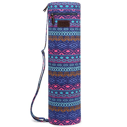 Boence Yoga Mat Bag, Full Zip Exercise Yoga Mat Sling Bag with Sturdy Canvas, Smooth Zippers, Adjustable Strap, Large Functional Storage Pockets - Fits Most Size Mats (Blue diamond) - Diamond 26in Pattern