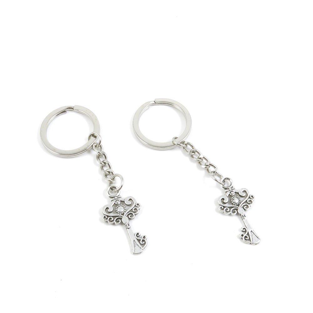 100 Pieces Keychain Door Car Key Chain Tags Keyring Ring Chain Keychain Supplies Antique Silver Tone Wholesale Bulk Lots J4RY6 Magic Key