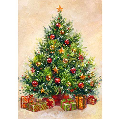 MXJ DIY 5D Diamond Painting by Number Kits Full Round Drill Rhinestone Embroidery Cross Stitch Picture Art Craft for Home Wall Decor Christmas Tree 12x16In