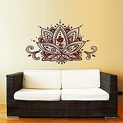 Lotus Flower Wall Decal Yoga Studio Vinyl Sticker Decals Mandala Ornament Moroccan Pattern Namaste Home Decor & Lotus Flower Wall Decal Yoga Studio Vinyl Sticker Decals Mandala ...