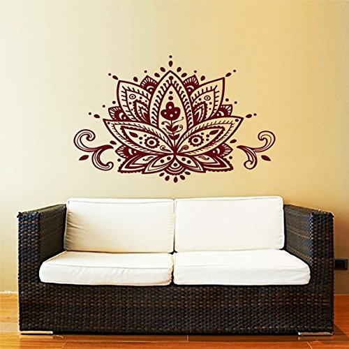 Lotus Flower Wall Decal Yoga Studio Vinyl Sticker Decals Mandala Ornament Moroccan Pattern Namaste Home Decor Boho Bohemian Bedroom ZX167