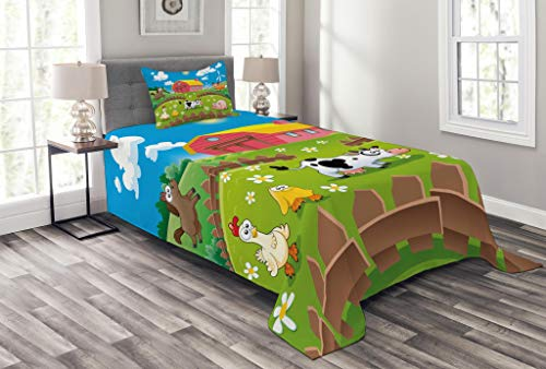 Lunarable Cartoon Bedspread Set Twin Size, Farm Cow Fox Chicken Pig Horse in The Fences Countryside Rural Children Design, Decorative Quilted 2 Piece Coverlet Set Pillow Sham, Multicolor