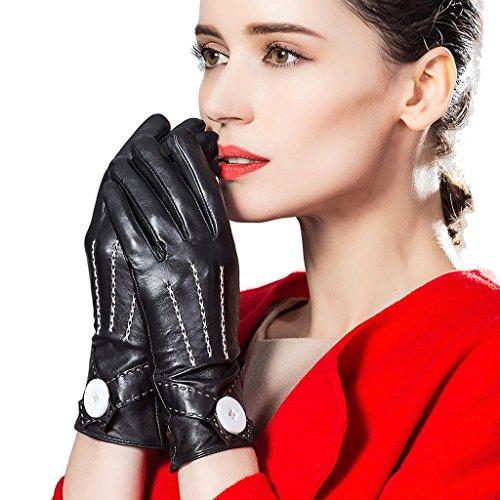 Leather City レディース手袋 羊革 高級グローブ レザー 女性用手袋 レザーグローブ 本革 ナッパ革 秋冬コーディネート 小物 大人可愛い 保温 黒 [並行輸入品]