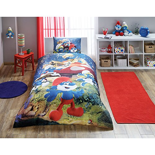 Mushroom Smurf (3 Pcs Twin and Single Bedroom Bedding Soft Colored 100% Cotton Licensed Single Quilt Duvet Cover Set Smurf Blue Forest Cartoon Child Mushroom House Single Bed with Fitted Sheet Şirinler The Lost Villa)
