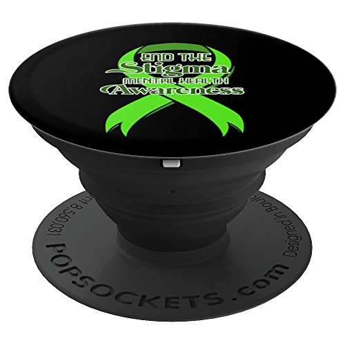 Mental Health Awareness Green Ribbon Depression - PopSockets Grip and Stand for Phones and Tablets