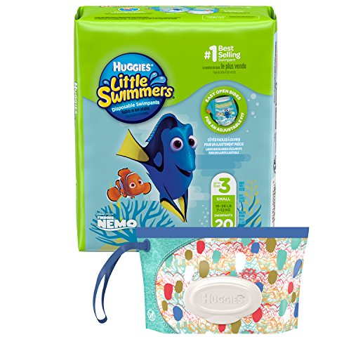 Huggies Little Swimmers Disposable Swim Diaper, Swimpants, Size 3 Small (16-26 lb.), 20 Ct, with Huggies Wipes Clutch N Clean Bonus Pack (Packaging May Vary)
