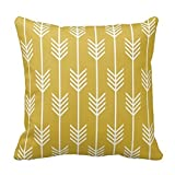 CBOutletArt Modern Arrow Fletching Pattern Mustard Yellow Cotton Linen Decorative Throw Pillow Case Cushion Cover 18*18 Inch b:137