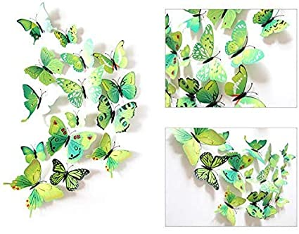 RW-H003 72 PCS Simulation Butterfly Wall Stickers Removable DIY Butterflies Wall Decals Home Wall Art Decor for Girls Teens Babys Boys Children Bedroom Nursery Living Room Bathroom Blue