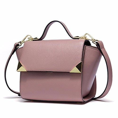 2018 nuevo bolso de hombro, bolso de cuero bolso de mano, sesgar en bolsa,Black Pink
