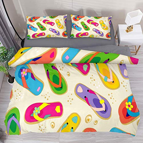 (LvShen Yellow Colorful Flip Flop Bedding Sets Queen Size 3 Pieces Printed Sheets Bed Coverlet Duvet Cover Set with 2 Pillow Cases Shams for Home Women Men )