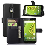 Premium Leather Wallet Case Cover with Stand Card Holder for Motorola Moto X Play Phone (2015) (Wallet - Black)