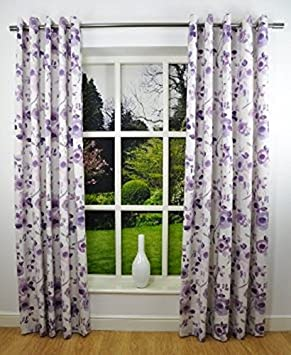Superb 90x72 INCHES RING TOP PLUM PURPLE WATERCOLOUR FLORAL FULLY LINED READY MADE  CURTAINS