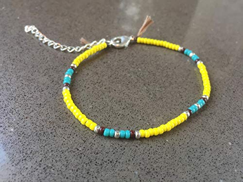 Anklet for Women or Girls, Unique Native American Style Thin Beaded Anklet Bracelet, Colorful Yellow Boho Hippie Beach Foot Jewelry, - American Beaded Bracelets Native