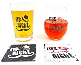 The Mediaholics Mr. Right and Mrs. Always Right – Beer Pint Glass & Wine Glass Combo with Coaster Set – Funny Novelty Present for Wedding Engagement Housewarming Couples – With Gift Box