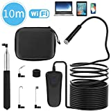 WIFI Inspection Camera, PEYOU 33 ft/10M IP68 Waterproof Wireless Borescope WIFI Endoscope with 2.0 Megapixels 1080P HD Camera & 8 Adjustable LED Lights & Semi-rigid Cable, Snake Inspection Camera/Video for IOS & Android & Windows System Compatible For iPhone & iPad, Samsung Phone & Tablet, PC and More