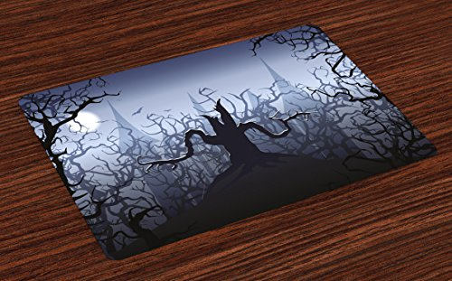 Lunarable Halloween Place Mats Set of 4, Misty Dark Forest Swirling Twiggy Spooky Branch Nature Trick or Treat Halloween, Washable Fabric Placemats for Dining Room Kitchen Table Decoration, Grey Black