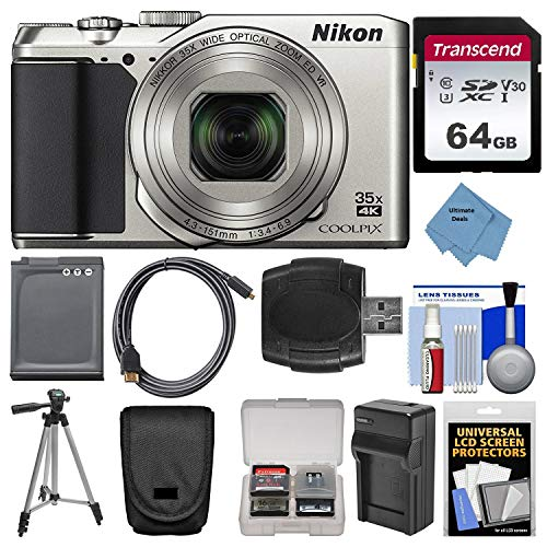 (Nikon Coolpix A900 4K Wi-Fi Digital Camera (Silver) with 32GB Card + Case + Battery + Charger & Tripod + Ultimate DeFree Deluxe Accessory Bundle)