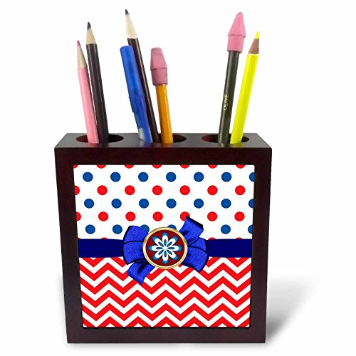 3dRose Anne Marie Baugh - Patterns - Cute Red, White, Blue Polka Dots and Chevron Stripes With Bow - 5 inch tile pen holder (ph_274128_1) (Polka Tray Dots White)
